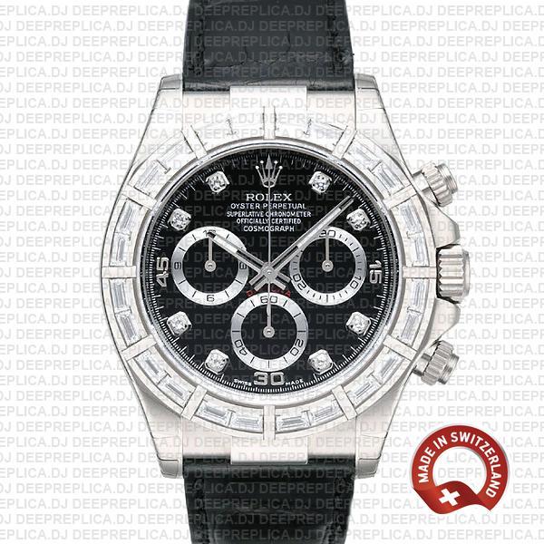 Rolex Daytona White Gold Black Diamond Dial Leather Watch