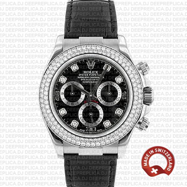 Rolex Daytona 18k White Gold Diamond Bezel Luxury Replica Watch