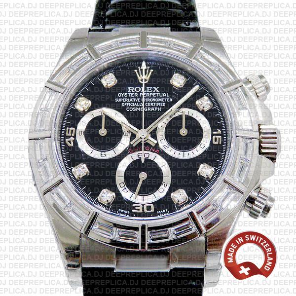 Replica Rolex Daytona 18k White Gold, Black Dial Diamond Hour Markers with Diamond Bezel Leather Strap 40mm
