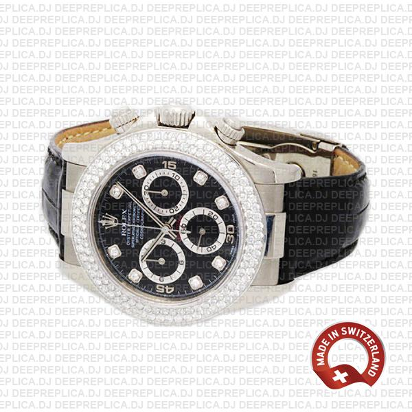 Rolex Cosmograph Daytona 18k White Gold 904L Steel Black Dial Diamond Markers Bezel Leather Strap