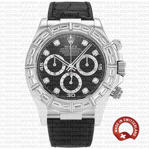 Rolex Daytona White Gold Black Diamond Dial Rolex Replica Watch