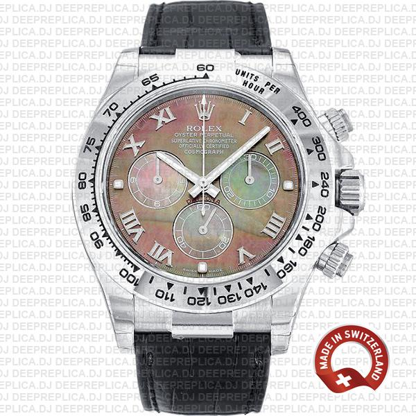 Rolex Daytona Black MOP Roman Dial Swiss Replica Watch