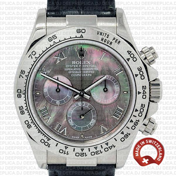 Rolex Cosmograph Daytona 40mm 18k White Gold 904L Steel Black MOP Dial Roman Markers Leather Strap