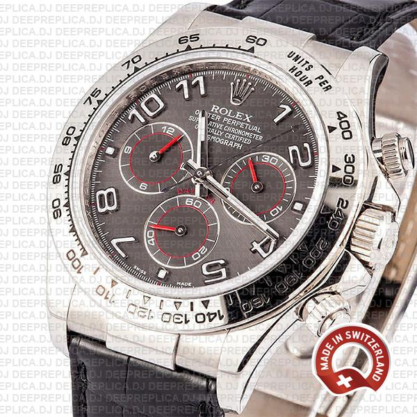 Rolex Daytona Leather Strap 18k White Gold Stainless Steel, Grey Dial with Arabic Markers Replica Watch