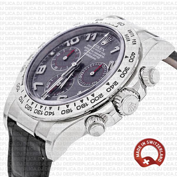 Best Rolex Replica Daytona White Gold Grey Arabic Dial Watch