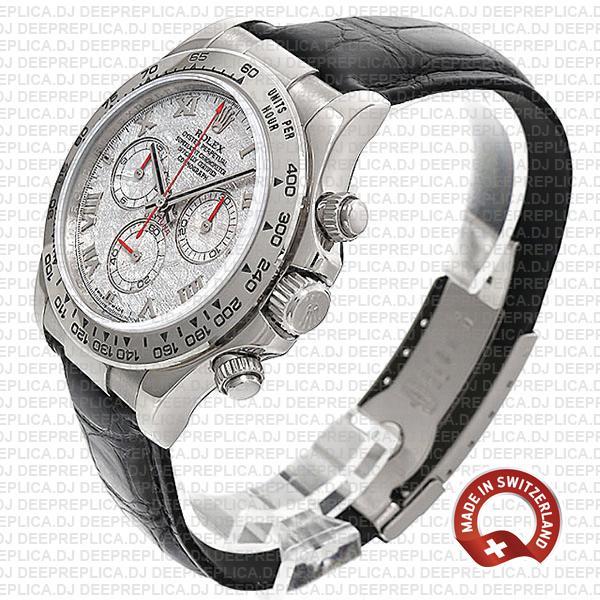 Rolex Cosmograph Daytona 40mm 18k White Gold Bezel Meteorite Roman Dial
