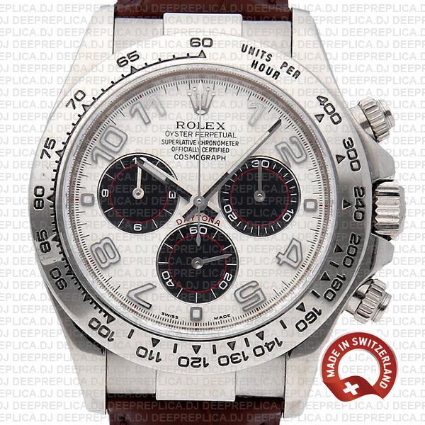 Rolex Daytona White Gold Leather Strap Swiss Replica Watch