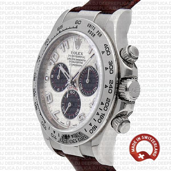Rolex Cosmograph Daytona 18k White Gold 904L Steel, Oysterflex Leather Bracelet White Panda Dial