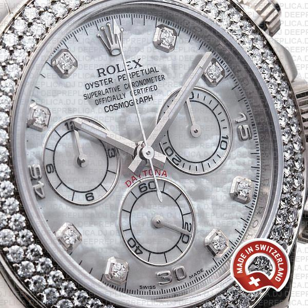 Rolex Cosmograph Daytona Leather Strap 18k White Gold MOP White Dial Diamond Markers Bezel 40mm