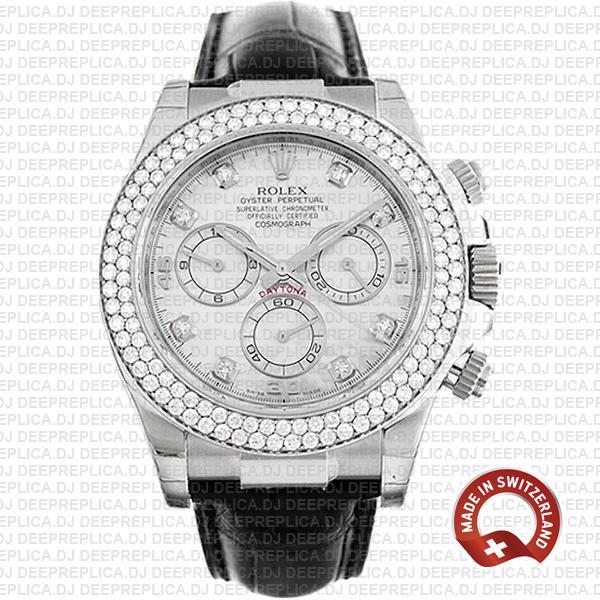 Rolex Daytona White MOP Diamond Bezel Dial Replica Watch