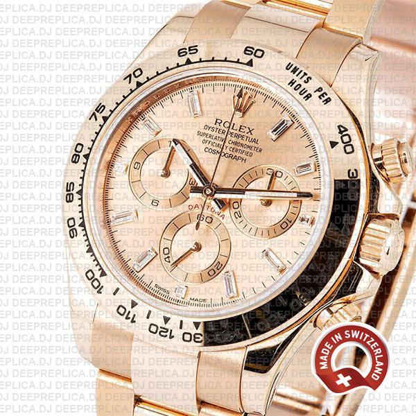 Rolex Cosmograph Daytona 18k Rose Gold Stainless Steel Oyster Bracelet, Pink Diamond Dial 40mm