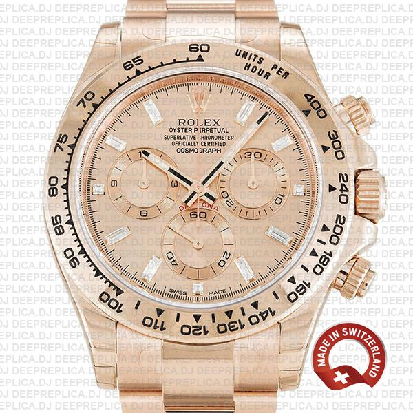 Replica Rolex Daytona 18k Rose Gold Pink Diamond Dial Watch