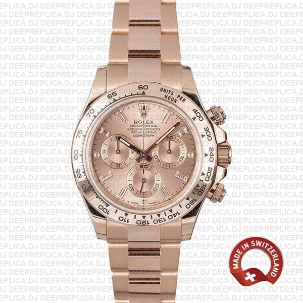 Rolex Cosmograph Daytona 18k Rose Gold Stainless Steel Oyster Bracelet, Pink Diamond Dial 40mm Replica