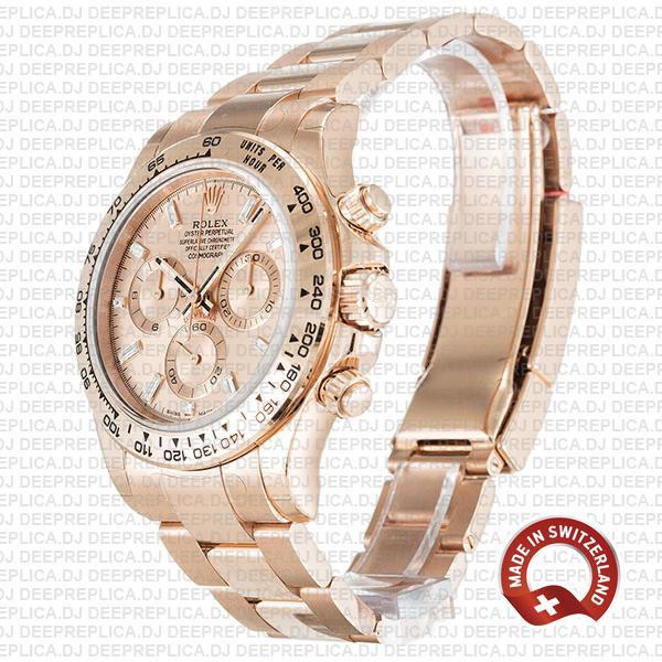 Rolex Cosmograph Daytona 18k Rose Gold Stainless Steel Oyster Bracelet, Pink Diamond Dial 40mm Replica Watch