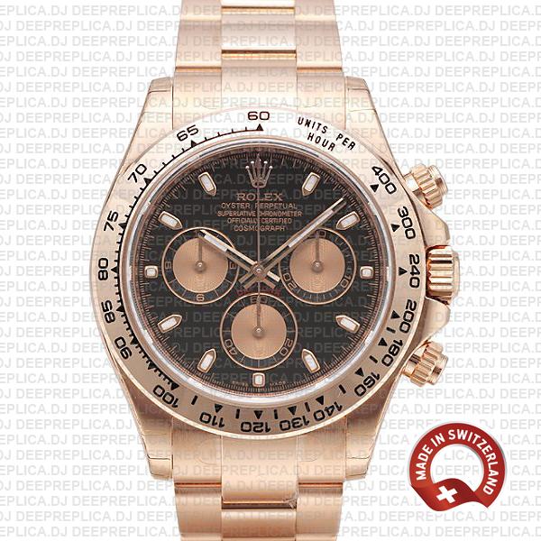 Rolex Daytona Rose Gold Black Dial   Swiss Replica Watch
