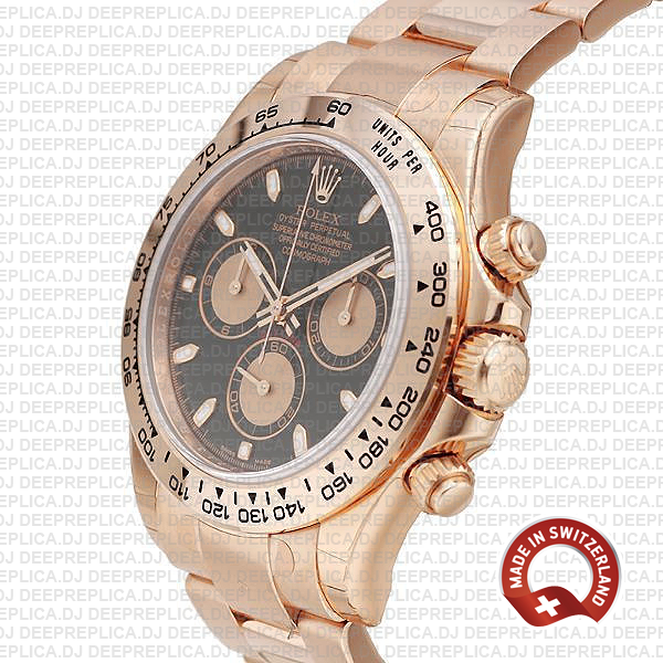 Replica Rolex Cosmograph Daytona 18k Rose Gold Black Panda Dial with Rose Gold Subdials 40mm & 904L Steel Oyster Bracelet Replica Watch