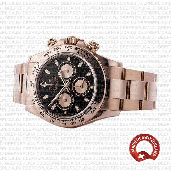 Replica Rolex Cosmograph Daytona 18k Rose Gold Black Panda Dial with Rose Gold Subdials 40mm & 904L Steel Oyster Bracelet