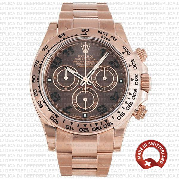 Rolex Cosmograph Daytona 904L Stainless Steel 18k Rose Gold Chocolate Arabic Dial 40mm