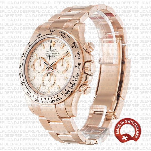 Rolex Daytona 904L Stainless Steel 18k Rose Gold White Ivory Dial