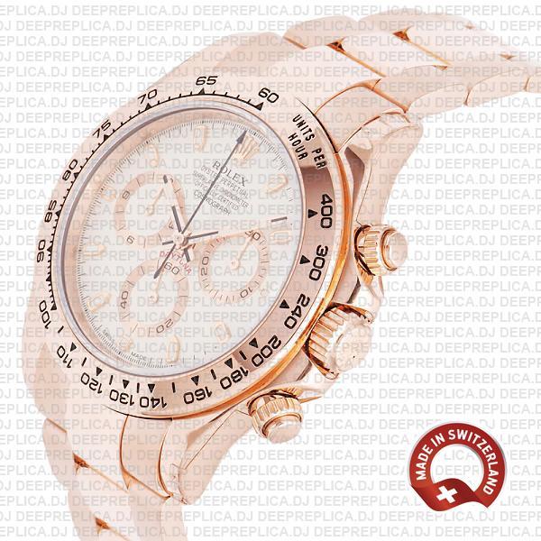 Rolex Daytona Rose Gold Ivory Dial Best Rolex Replica Watch