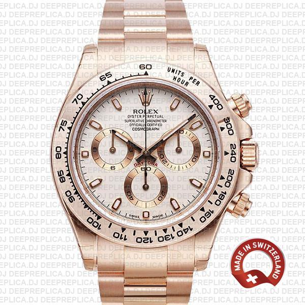 Rolex Daytona Rose Gold Ivory Dial | Best Rolex Replica Watch
