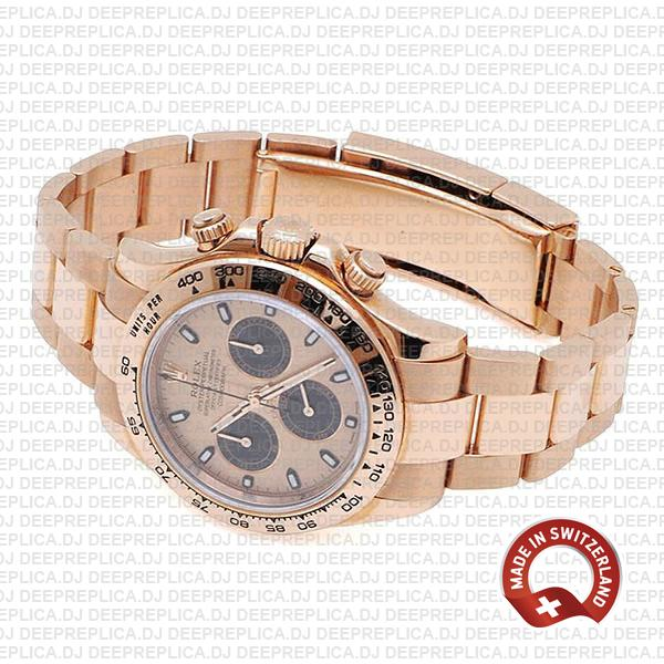 Rolex Oyster Perpetual Daytona 18k Rose Gold Watch, Pink Panda Dial with Black Subdials 40mm