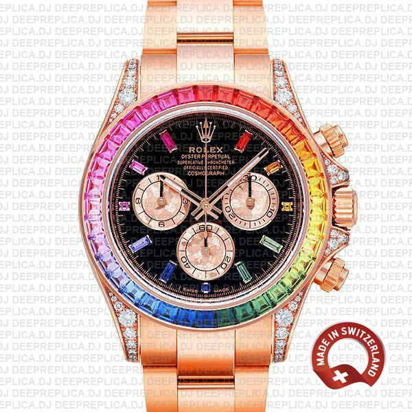 Rolex Daytona Rose Gold Rainbow Bezel | Best Replica Watch