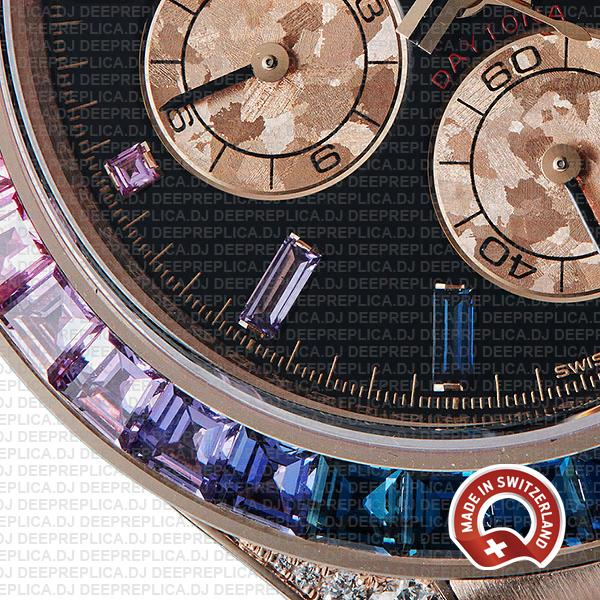 Rolex Cosmograph Daytona 18k Rose Gold Rainbow Sapphire Bezel & Black Gem Dial Diamond Set Case Replica Watch