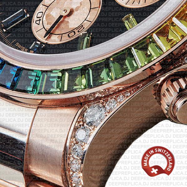 Rolex Daytona Rose Gold Rainbow 116595rbow 40mm Swiss Replica