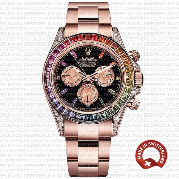 Rolex Cosmograph Daytona 18k Rose Gold Rainbow Sapphire Bezel & Black Gem Dial Diamond Set Case