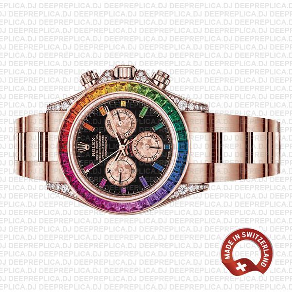 Rolex Daytona Rose Gold Rainbow Bezel Best Replica Watch