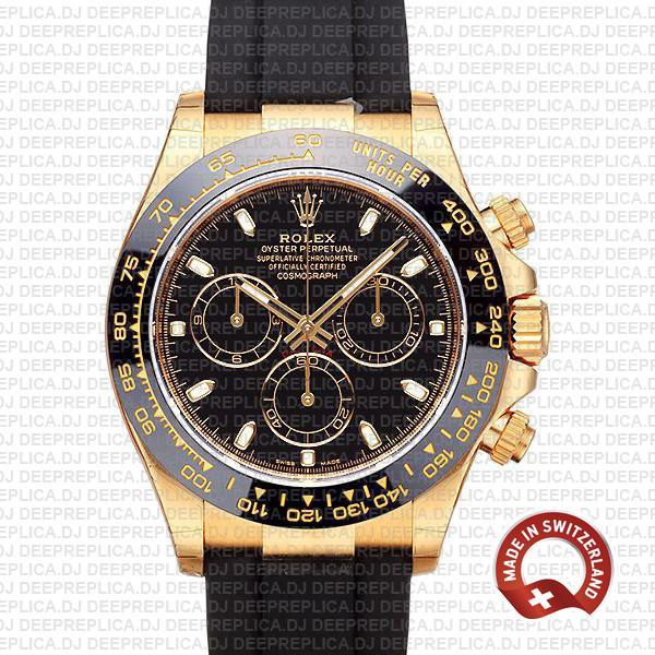 Rolex Daytona 18k Gold Black Dial | Best Swiss Replica Watch