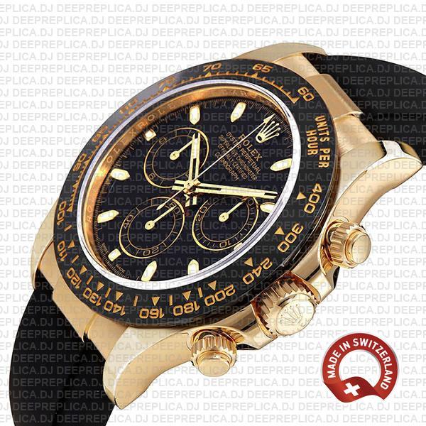 Rolex Daytona 18k Gold Black Dial Best Swiss Replica Watch
