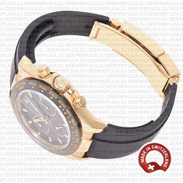 Rolex Oyster Perpetual Cosmograph Daytona 18k Yellow Gold Black Dial Ceramic Bezel 40mm