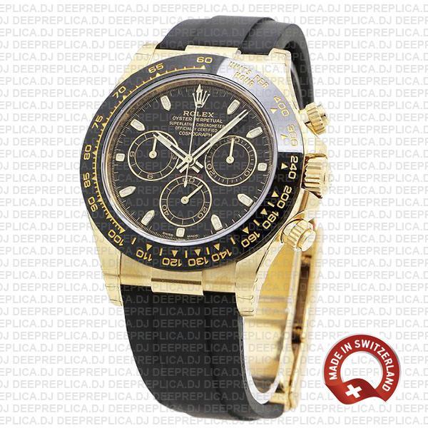 Rolex Oyster Perpetual Cosmograph Daytona 18k Yellow Gold Black Dial Ceramic Bezel 40mm Replica
