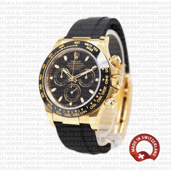 Rolex Oyster Perpetual Cosmograph Daytona 18k Yellow Gold Black Dial Ceramic Bezel 40mm Replica Watch