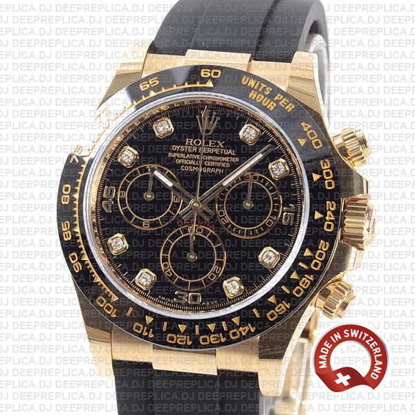 Rolex Daytona Gold Black Diamond Dial Swiss Replica Watch