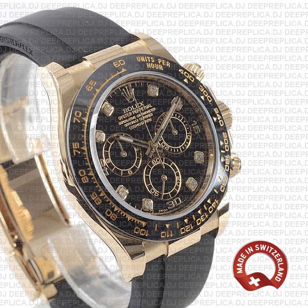Rolex Oyster Perpetual Cosmograph Daytona 18k Yellow Gold Rubber Strap Black Diamond Dial 40mm