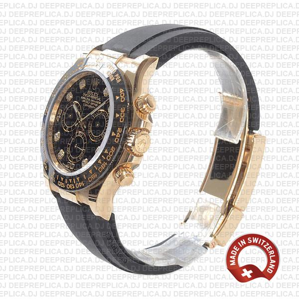 Rolex Oyster Perpetual Cosmograph Daytona 18k Yellow Gold Rubber Strap Black Diamond Dial 40mm Replica Watch