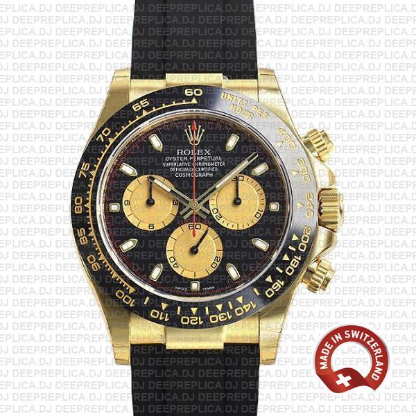 Rolex Daytona Gold Black Panda Dial Rolex Replica Watch