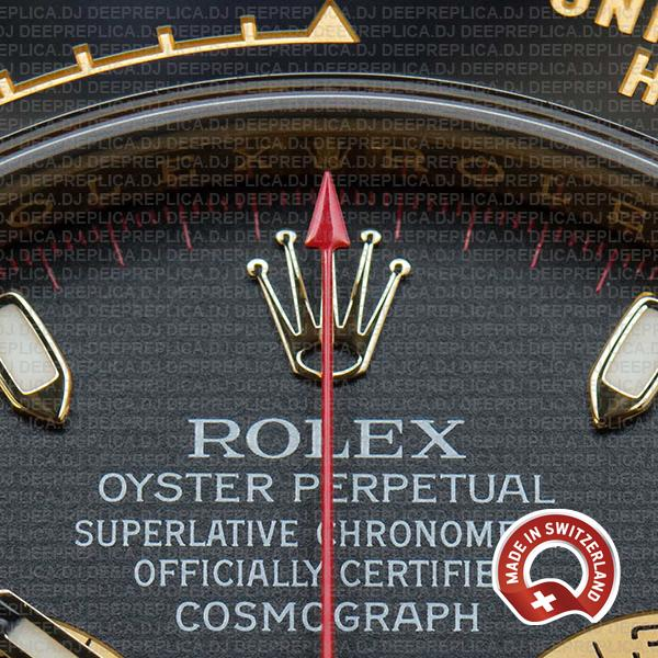 Rolex Cosmograph Daytona 18k Yellow Gold Black Panda Dial with Rubber Strap 40mm Swiss Replica Watch
