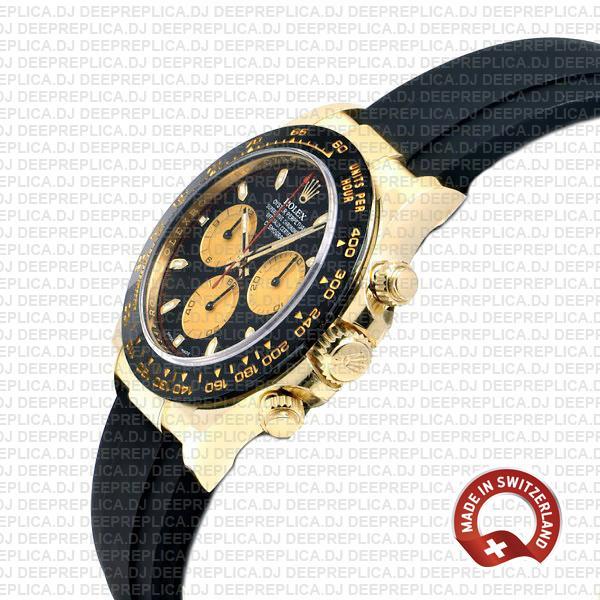 Rolex Daytona Rubber 18k Yellow Gold Ceramic Bezel Panda Black Dial 40mm 116518