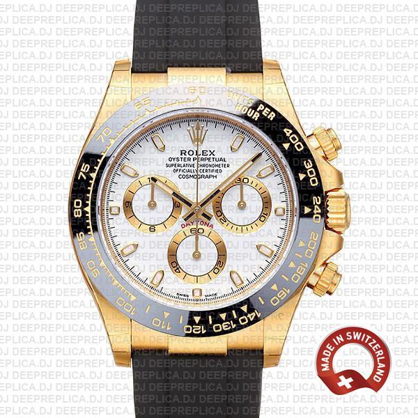 Rolex Daytona Gold Rubber Strap White Dial | Replica Watch