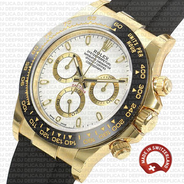 Rolex Cosmograph Daytona 18k Yellow Gold 904L Stainless Steel Rubber Strap White Dial Replica Watch