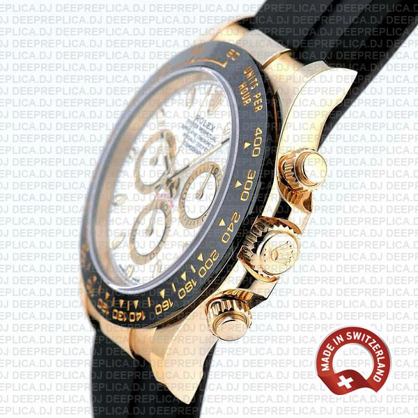 Rolex Daytona Gold Rubber Strap White Dial Replica Watch