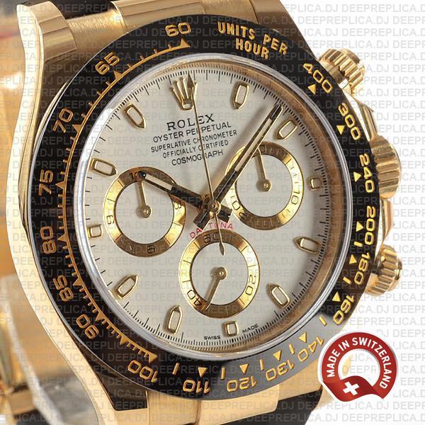 Rolex Daytona Gold Rubber Strap White Dial Rolex Replica Watch