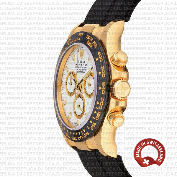 Rolex Cosmograph Daytona 18k Yellow Gold 904L Stainless Steel Rubber Strap White Dial