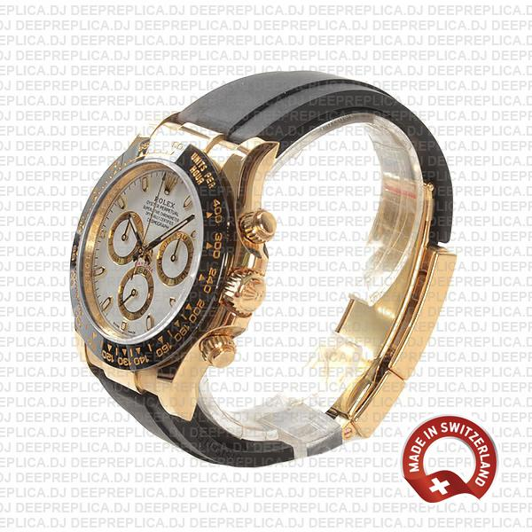 Rolex Cosmograph Daytona 18k Yellow Gold 904L Stainless Steel Rubber Strap White Dial Replica