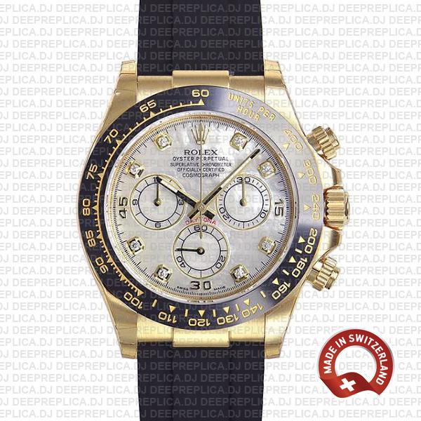 Rolex Daytona Rubber Strap White Diamond Dial Replica Watch