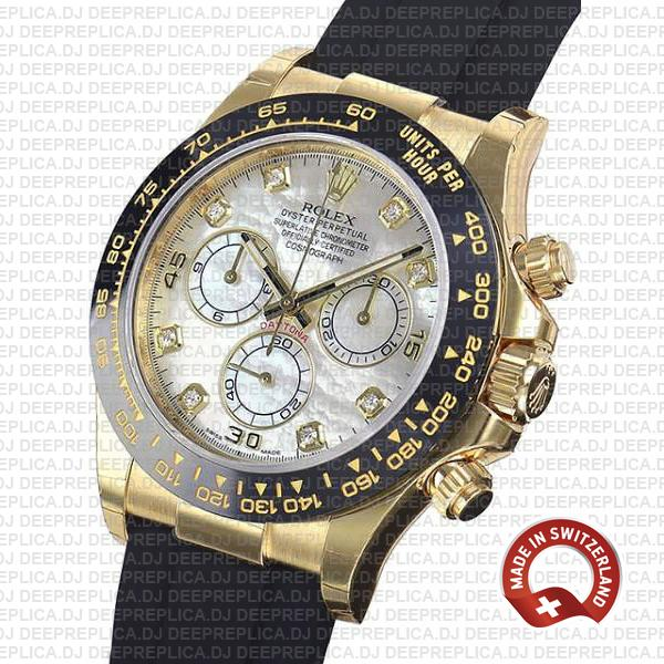 Rolex Oyster Perpetual Cosmograph Daytona 18k Yellow Gold White MOP Dial Diamond Markers Replica Watch